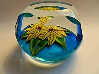 Signed RONALD E HANSEN Faceted Lampwork Flower PAPERWEIGHT