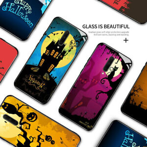 Phone Case For OnePlus 8 Pro 7T 6 5 Halloween Pumpkin Witch Tempered Glass Cover