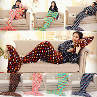 Hot Soft Mermaid Tail Blanket Fleece Bowknot Pillow Set Sofa Blanket Convenient