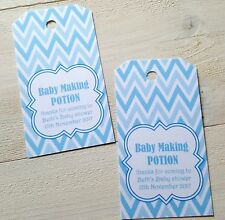 'BABY MAKING POTION' BABY SHOWER FAVOUR/WINE BOTTLE TAGS, BLUE DESIGN, BOY