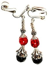 Classy Dangly Silver Red & Black Clip On Earrings Glass Bead Vintage Style
