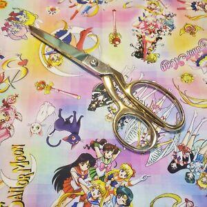 Sailor moon anime nerdy rainbow background 100% cotton fabric FQ