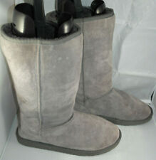 SOULCAL&CO WOMENS GREY LEATHER SNOW WINTER BOOTS SIZE:5/38(WB3001)