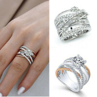 Elegant Women 925 Silver Jewelry Wedding Rings White Sapphire Ring