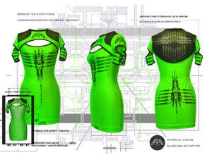 DANE Nanojet Mid sleeve Slash Dress Cyber Goth Clubwear Podium Bodycon UV
