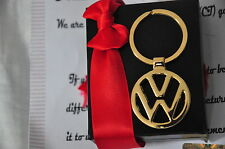 24K Gold Plated VW Volkswagen Metal Keyring 3D Car Key Chain Ring Fob Gift Box