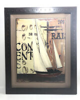 "Sailboat Framed Art Print -Signed. 17""x14"" Nautical Decor, Ocean, Clams, Boat."