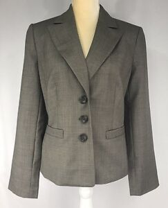 Ann Taylor Blazer 10 Jacket 100% Virgin Wool Three Buttons Brown New $228