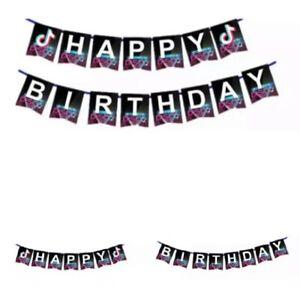 Tik Tok Themed Happy Birthday Banner. Tik Tok Party Supplies Decorations