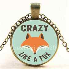 Vintage CRAZY LIKE A FOX Photo Cabochon Glass Bronze Chain Pendant Necklace