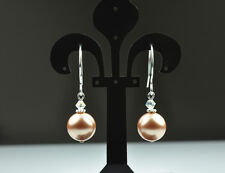 Rose Gold made with Swarovski Elements Crystal Pearl Earrings