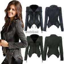 Fashion Womens Lady Punk Spike Studded Shoulder Denim Lapel Jacket Jeans Coat