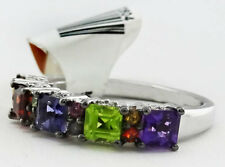 GENUINE 2.26 Ct PERIDOT, AMETHYST, TANZANITE, GARNET & DIAMOND RING .925 SILVER