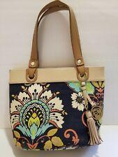 Spartina Purse Handbag Blue Tan Floral Linen Leather Tassel Shoulder Bag Tote