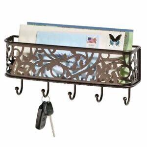 mDesign Metal Wall Mount Entryway Storage, Mail Sorter Basket - Bronze