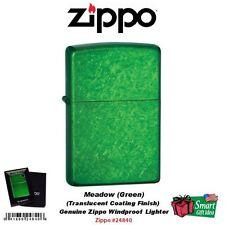 Zippo Meadow Lighter, Green Translucent Powder Coating USA Windproof #24840