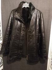 Manteau veste noir vraie fourrure cuir verni, T40