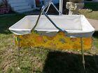 Strolee vtg 60s 70s Baby Carrier car bed Bassinet Cradle Hippie Boho yellow