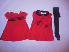 Girls Little Bitty Red Dress and Coat Set 18M +Black Tights