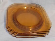 "Vintage Fostoria Mayfair 7"" Square Amber Glass Bread Plate saucers lot of 4"