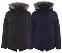 New Kids Boys Jacket Hooded Faux Rain Fur Padded Parka Coat