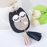 Women Key Chain Pu Leather Owl Tassel Ring Holder Handbag Pendant Car Trinket
