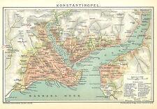 Historische Stadtkarte 1898: Konstantinopel. Stadtplan farbig Istanbul (B14)
