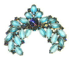 Juliana Matte Frosted Crescent Rhinestone Brooch De Lizza and Elster Vintage 3in