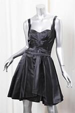 PRADA Womens Black Silk Satin Knee-Length Pleated Cocktail Fit+Flare Dress 38/2