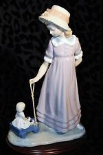 Lladro Girl With Toy Wagon Figurine #5044 Spain Mint