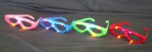 4 pcs Flashing Eyeglasses Assort Color LED Light Up Blinking Novelty Eye Glasses