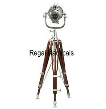 THEATER FLOOR SEARCHLIGHT SPOTLIGHT WITH HEAVY BROWN TRIPOD STAND BIG LAMP