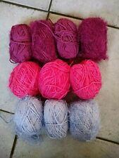 500g SIRDAR TUFTY eyelash fur WOOL YARN – pink lilc red MIX LOT - 5mm baby funky