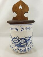 Vintage Blue Onion? Pottery Wood Lidded Wall Canister Spice Storage Flow Blue