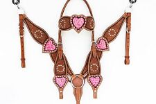 PINK GATOR TOOLED HEADSTALL LEATHER WESTERN HORSE SHOW BRIDLE BREASTCOLLAR TACK