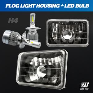 "4""x6"" Sealed Beam Headlight Conversion Smoke Lens + 100W H4 CREE LED Kit"