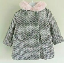 Ex Store Baby Girls Grey Pink Fur Collar Lined Smart Winter Coat Age 12 18 24