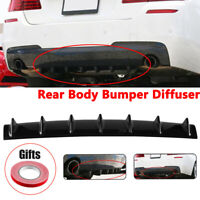 "33""X 5"" Universal Shark Fin 7 Wing Lip Rear Bumper Diffuser Spoiler Gloss Black"
