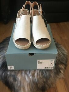 TOMS MONICA Slingback Wedge Sandal Natural Hemp/Leather, Size 9  NEW IN BOX
