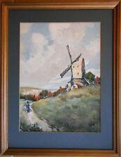 Clayton Mill, Sussex Downs. Watercolour by Charles Edward Burton Bernard c1920