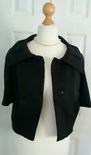 Ladies Black Fitted Cropped Bolero Jacket By Warehouse Size 12 Pleated Collar