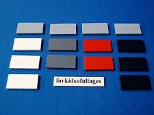 14 Lego 2x4 Finishing Tiles/Plates Smooth Parts Lot A White Red Black Lt Dk Grey