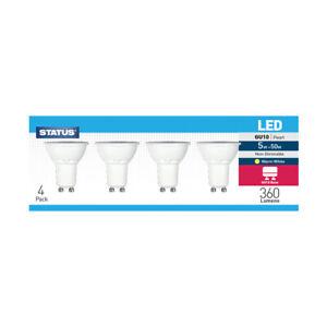 Status LED GU10, 5w = 50w, Warm White, Non-Dimmable,GU10 Pearl, 360 Lumen 4 Pack