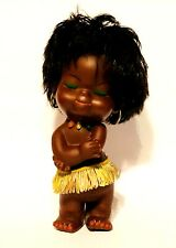 VINTAGE HAWAIIAN HULA RUBBER NEGRO AFRICA GIRL DOLL 10'' INCHES USED RARE GREEK