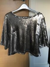 River Island Petite Silver Sequin Top Size 12 BNWT