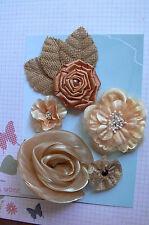 LATTE Rose All Fabric 5 Flower Mix 35-75mm across + 3 BURLAP Leaves Green Tara D