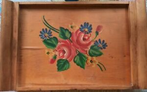 Vintage Handpainted Tole Pink Floral Wooden Decorative Serving Tray Tea tray