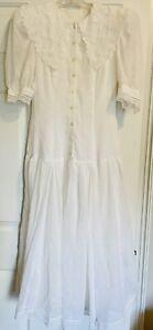 VTG 70's GUNNE SAX Jessica McClintock White Drop Waist Lace Dress Size 5