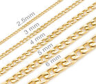 Mens womens kids 18K Gold Plated Stainless Steel Necklace Curb Chains Gold chain