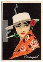 Portugal Portuguese Young Woman Traditional Dress Clothing  1920s Trade Ad Card